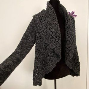 Charcoal Oversize Crochet Sweater Cover-up by Romeo & Juliet sz Small